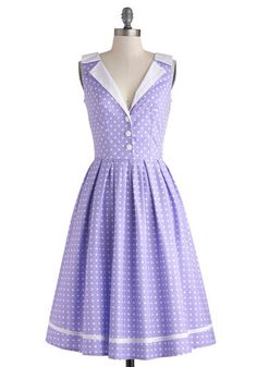 Love You Brunches Dress in Lilac: Nothing delights you quite as much as a mid-morning meal with the ones you love. Clad in the lilac-purple body of this polka-dotted dress  you find your seat at…    #1960s #60s #Retro #Vintage #LoveYouBrunchesDressInLilac, #ModCloth, #Purple