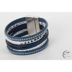 Manchette cuir LIGHT bleu