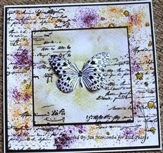 Brusho Crystal colours & Stampendous Butterflies stamp.