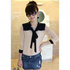 $8.00 Stylish V-Neck Chffion Splicing Ribbons Long Sleeves Graceful Chffion Blouse For Women