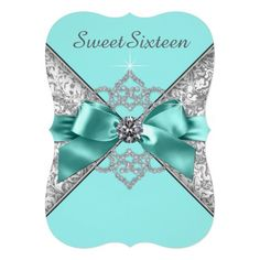 White Diamonds Teal Blue Sweet 16 Birthday Party 5x7 Paper Invitation Card