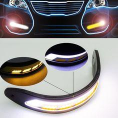 2 STKS Flexibele Waterdichte Side Knipperlichten Auto Styling COB Led-dagrijverlichting DRL Mistlampen Met Signaal Licht CA