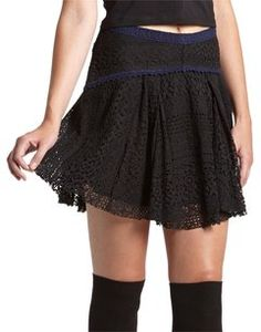 Free People Crochet Mini Skirt Black