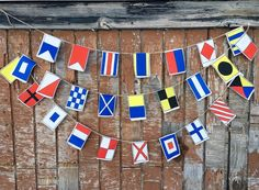 Nautical flags garland A-Z Small flags by NoelleODesigns on Etsy Nautical Quilt, Nautical Flags, Nautical Party, Nautical Wedding, Style Nautique, Engagement Party Gifts, Flag Garland, Small Flags, Beach Houses