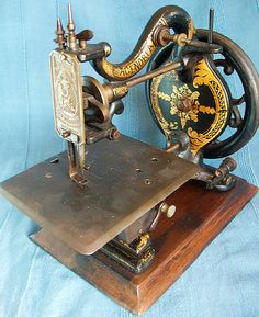 """Agenoria machine c1870 has the trade mark of """"The Franklin Co."""" and was made in Birmingham, England. Agenoria was the Goddess of Industry and Slience."""