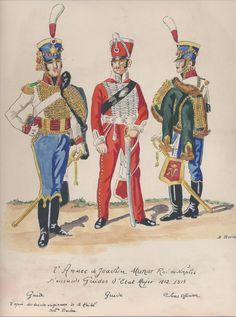 Guide e sottufficiale del reggimento guide dello stato maggiore del regno di Murat