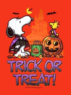 "Snoopy, ""Trick or Treat!"", Happy Halloween."