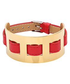 Loving this Red Leather & Yellow Gold Buckle Bracelet on #zulily! #zulilyfinds