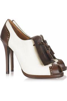 Ladies shoes Ralph Lauren Collection Janna tasseled leather peep toe pumps NET A PORTER 4734 |2013 Fashion High Heels|
