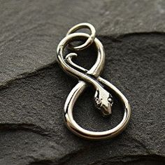 Sterling Silver Infinity Snake Charm - Serpent Charm, Infinity Charm, Figure Eight on Etsy, $9.50