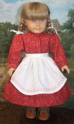 8cfe3a378b American Girl Style Circa 1860s Apron Dress in Coral Flannel