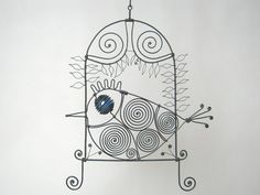 Blue+Eyed+Wire+Bird+Resting+In+A+Window+by+MyWireArt+on+Etsy