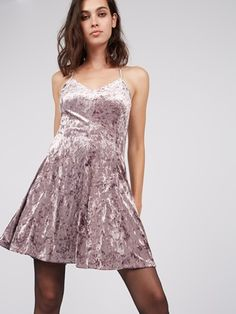 PINK CRUSHED VELVET SKATER #DRESS