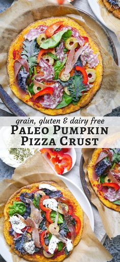 A healthy paleo pumpkin pizza crust recipe using mashed pumpkin, almond flour and psyllium. Grain free, dairy free and can be made vegan. Recipe via nourisheveryday.com