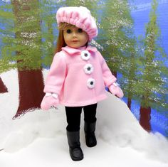 "American girl 18 doll coat pink fleece jacket with by MegOrisDolls, 30.50. short jacket, slouch hat and mitten gloves. buttons on the jacket are not real. They are handcrafted fleece buttons, which are centered with a black plastic rhinestone and sewn onto the coat,  fastened with 3 loops and hooks placed underneath each ""button"". The jacket comes with a beret that has a larger rhinestone button on top. Mittens are decorated with white bows and black tiny rhinestones. elastic at the wrist"