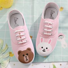 Cute Japanese Fashion Canvas Flats on Girly Girl の To Alice.Pink Cute Bear Bunny Canvas Flats Kawaii Hand-Draw Shoes Gg519 is a cute and unique girly designer for every female customer, which will be a eye- catching focus in the street. .It is a staple in your wardrobe for it can be worn for your daily outfit for many occasions.