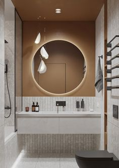 """The design is based on neutral colors with warm color elements. That's why we called the project """"Ginger flat"""". Bathroom Interior Design, Living Room Interior, Interior Decorating, Interior Livingroom, Design Apartment, Minimalist Home Interior, Interior Modern, Toilet Design, Hippie Home Decor"""