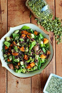 Warm Sweet Potato & Quinoa Salad with Spicy Peanut Sauce - ilovevegan.com #vegan #glutenfree