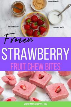 These frozen strawberry bite bars are super easy to make and only require 4 ingredients. Your kids will love these and they are super healthy fruit chews that are made with tons of strawberries, coconut milk, peanut butter and honey! #strawberry #easykidsnack #frozentreats #fruitrecipes #healthysnacksforkids #summersnacks Strawberry Snacks, Strawberry Dessert Recipes, Fruit Snacks, Fruit Recipes, Fun Desserts, Baby Food Recipes, Delicious Desserts, Snack Recipes, Easy Snacks For Kids
