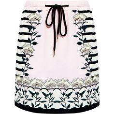 Markus Lupfer - Blooming Flower Stripe Silk Mini Skirt (€360) ❤ liked on Polyvore featuring skirts, mini skirts, bottoms, short miniskirt, silk skirt, long summer skirts, long skirts and pastel pink skirt