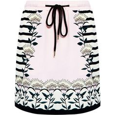 Markus Lupfer - Blooming Flower Stripe Silk Mini Skirt (€360) ❤ liked on Polyvore featuring skirts, mini skirts, bottoms, short miniskirt, silk skirt, long summer skirts, long skirts and pastel pink skirt