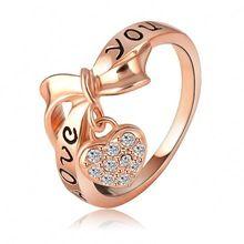 LZESHINE Brand Black Enamel Love You Ring Heart Bow 18K Rose Gold Plate Austrian Crystal SWA Element Rings Word Ring Ri-HQ1055-A(China (Mainland))