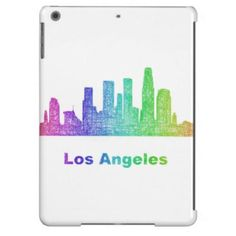 Rainbow Los Angeles skyline iPad Air Cover $77.30 *** Rainbow city skyline of Los Angeles  California. - iPad case