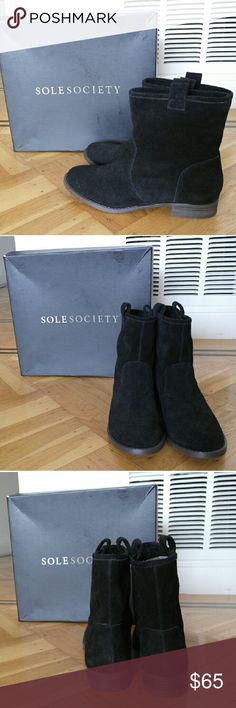 Sole Society NATASHA Black Suede Ankle Booties Black suede wide calf ankle bootie. Natasha style sz 6.5 Comes with box and never worn :) Sole Society Shoes Ankle Boots & Booties