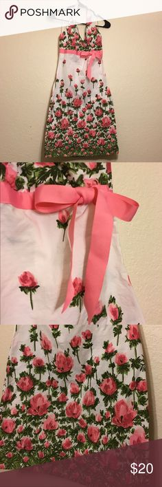 🌷Adorable Floral Halter Dress🌷 White Halter dress with pink flowers and front grosgrain ribbon. Invisible zipper and elastic in the back. 100% cotton. Colors are vibrant and beautiful. Speechless Dresses Midi