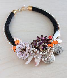 Flower necklace bib necklace statement necklace by charlotte hosten