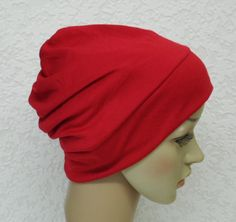 Red beanie chemo hat surgical cap bad hair by accessoriesbyrita