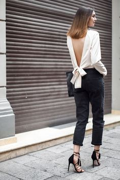 spring outfit, summer outfit, black and white outfit, street chic style, party outfit, night out outfit, outfit for party, date night outfit - white v-back crop top, black crop jeans, black lace-up heeled sandals, black handbag.