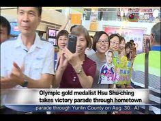為雲林爭光 許淑淨乘坐吉普車遊行雲林鄉鎮 Olympic gold winner Hsu Shu-ching in victory parade...