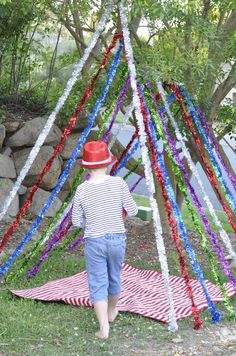 """Loving the tinsel tent - from be a fun mum ("""",) Eyfs Outdoor Area, Outdoor Areas, Outdoor Fun, Outside Activities, Outdoor Activities, Motor Activities, Preschool Activities, Communication Friendly Spaces, Outdoor Learning Spaces"""