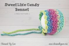 FREE Crochet Pattern: Sweet Like Candy Bonnet by Charmed By Ewe
