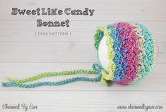 Free Crochet Pattern: Sweet Like Candy Bonnet by Charmed By Ewe