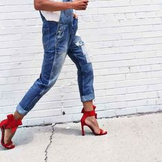 Sexin' up our Nasty Gal Over It Denim Overalls with red hot heels