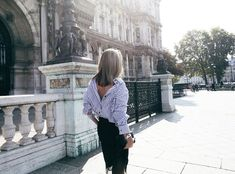 mode femme été2016- chemise femme à l'envers en blanc et bleu