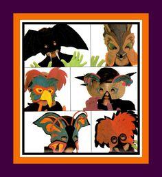 Vintage 1985- ANIMAL FELT MASK-Costume Sewing Pattern -Six Designs -Woodpecker -Bat -Parrot- Butterfly-Fantasy-Fox -Adult & Kids Size- Rare by FarfallaDesignStudio on Etsy