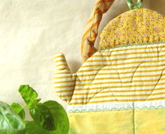 YELLOW QUILTED Kettle, Kitchen Decor, Wall Pockets, Dry Goods Storage. $35.00, via Etsy.