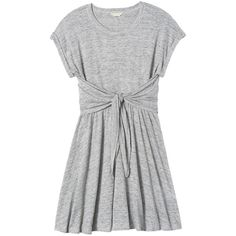 Rebecca Taylor Jersey Wrap Dress ($295) ❤ liked on Polyvore featuring dresses, vestidos, melange grey, tee shirt dress, wrap dress, oversized jersey dress, grey dress and tshirt dress