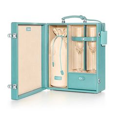 Champagne case in light teal textured leather. More colors available.
