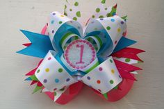 1st Birthday Hairbow  by TheSweetBCollection on Etsy