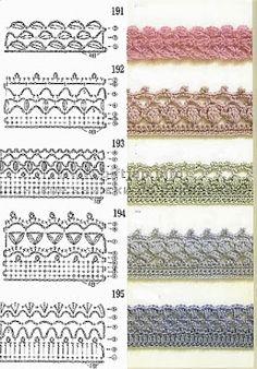 Uncinetto e crochet raccolta schemi per bordi e for Schemi bordure uncinetto per lenzuola