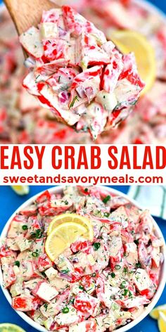 Crab Salad is the ultimate seafood delicacy, made budget-friendly with imitation crab. #crabsalad #saladrecipes #seafood #sweetandsavorymeals #easyrecipes Crab Salad, Seafood Salad, Seafood Dishes, Fish And Seafood, Fish Dishes, Appetizer Salads, Appetizer Recipes, Recipes Dinner, Breakfast Recipes