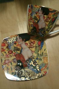 """Tea cup and Saucer - artist Gustav Klimt - Duo """"Donna"""" pinned before but I love this one"""