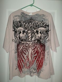 Mens Red & Black VENGEANCE Skulls & Wings Crew Neck Short Sleeve Shirt, Size 2XL #VENGEANCEDELTAPROWEIGHT #CrewNeckLargeLogoGraphicPullOverShirt
