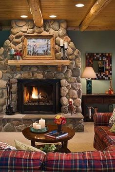 Custom Cedar Log Homes, Luxury Cottage Floor Plans, Architectural Design Services – Town & Country Cottage Fireplace, Home Fireplace, Fireplace Design, River Rock Fireplaces, Rustic Fireplaces, Stone Fireplaces, Style At Home, Living Room Designs, Living Room Decor