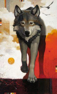 Craig Kosak Paintings - Wolf Walking