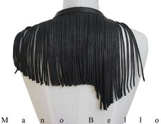 Leather Fringe Necklace Minimalist Hippie Necklace by ManoBello